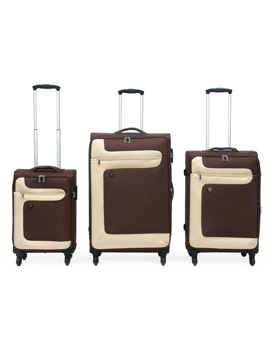 Single Wheel Fabric Trolley Bag Set of 3 (Brown & Beige)