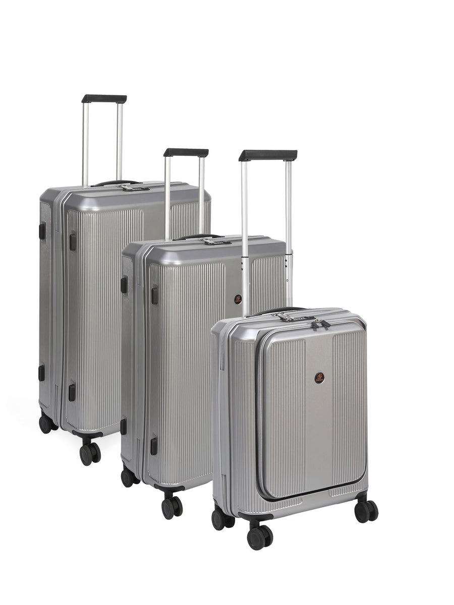 Double Wheel Polycarbonate Trolley Bag Set of 3 (Silver)