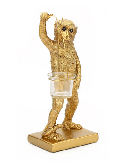 Monkey Holding Votive Showpiece (Gold)