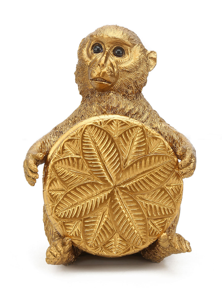 Monkey Holding Coaster Showpiece (Gold)