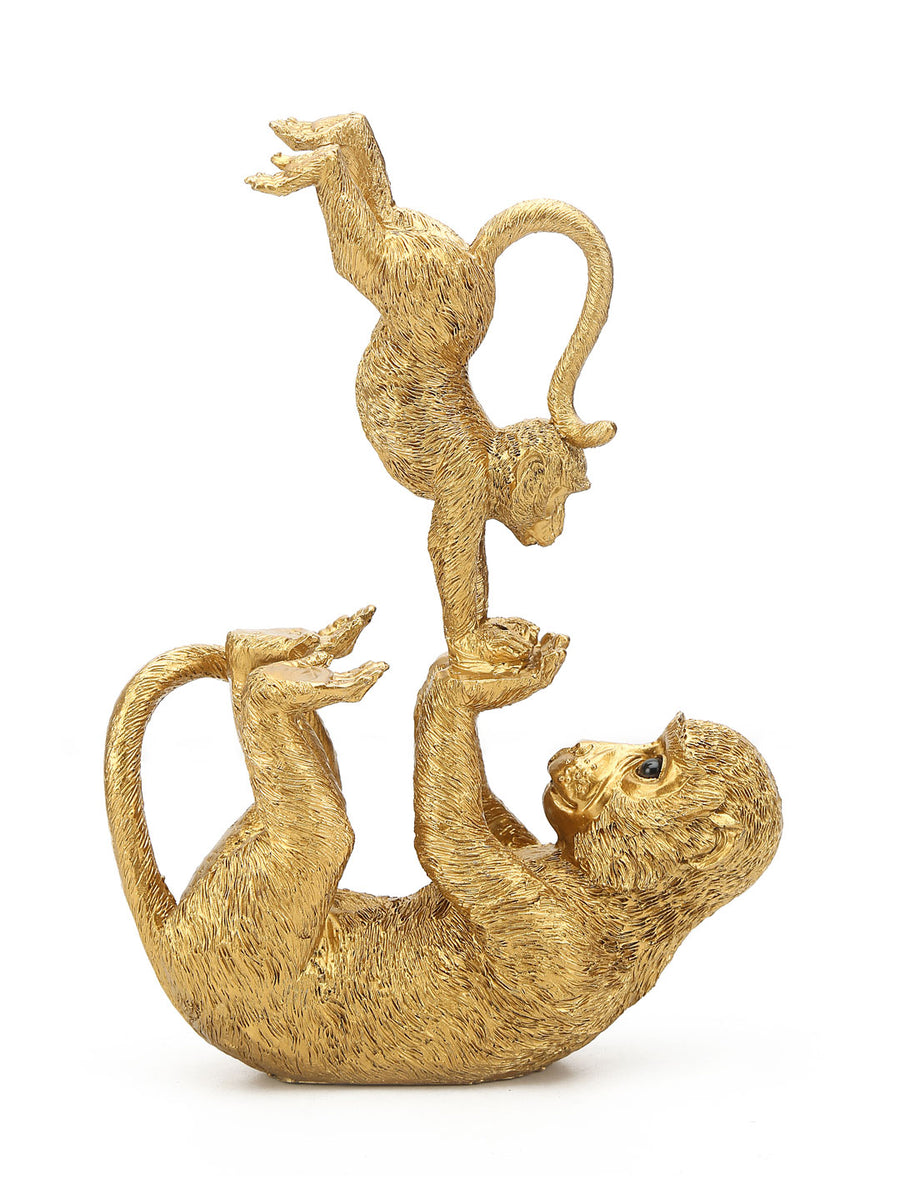 Monkey Mom & Kid Showpiece (Gold)