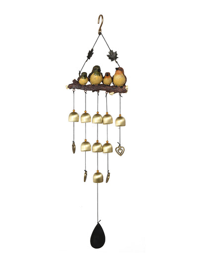 Hanging Bird on a Branch Large Windchime (Gold)