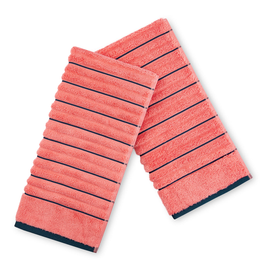 Spaces Exotica Ribbed Small Hand Towel 575 GSM(Coral Navy)