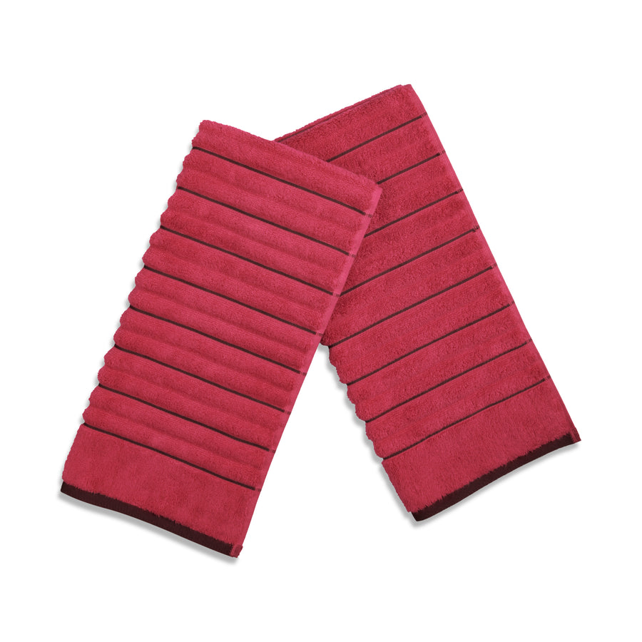Spaces Exotica Ribbed Wine Small Hand Towel 575 GSM(Scarlet Wine)