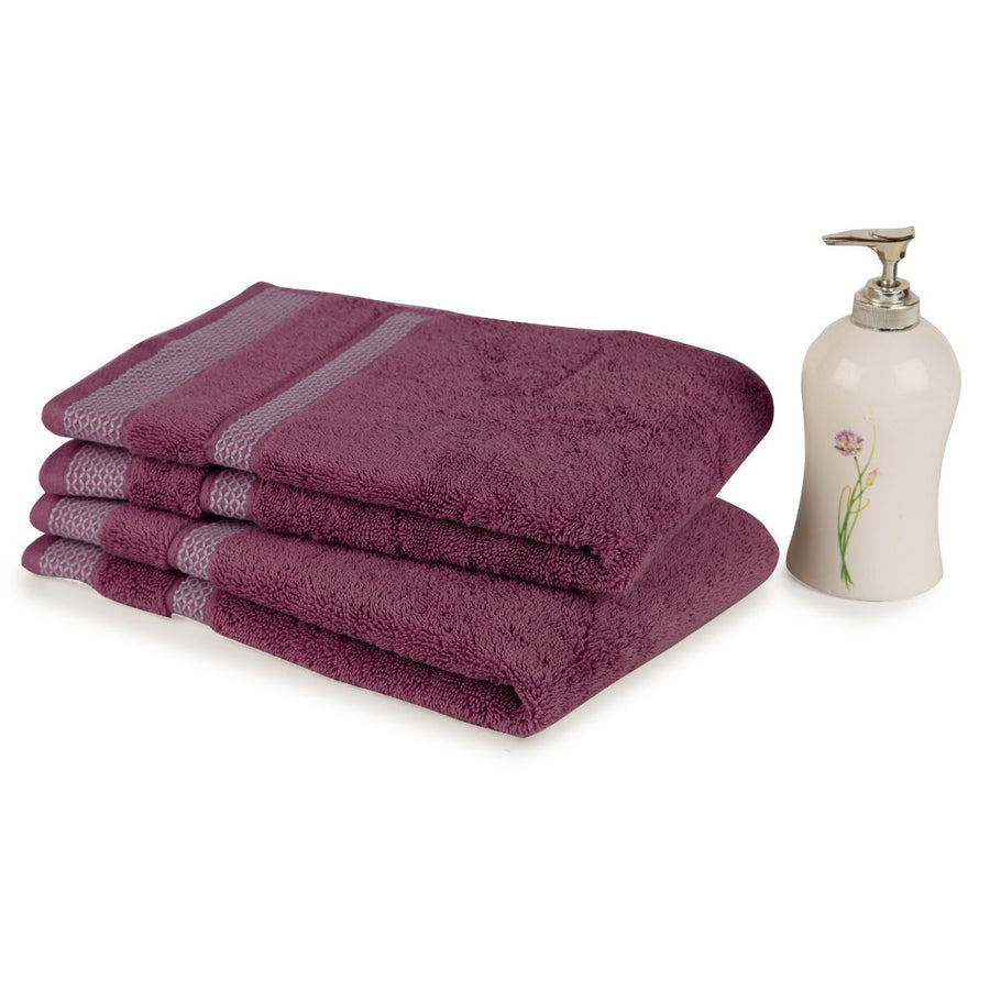 Spaces Hygro Wine Small 2 Pcs Hand Towel Set 600 GSM(Wine)