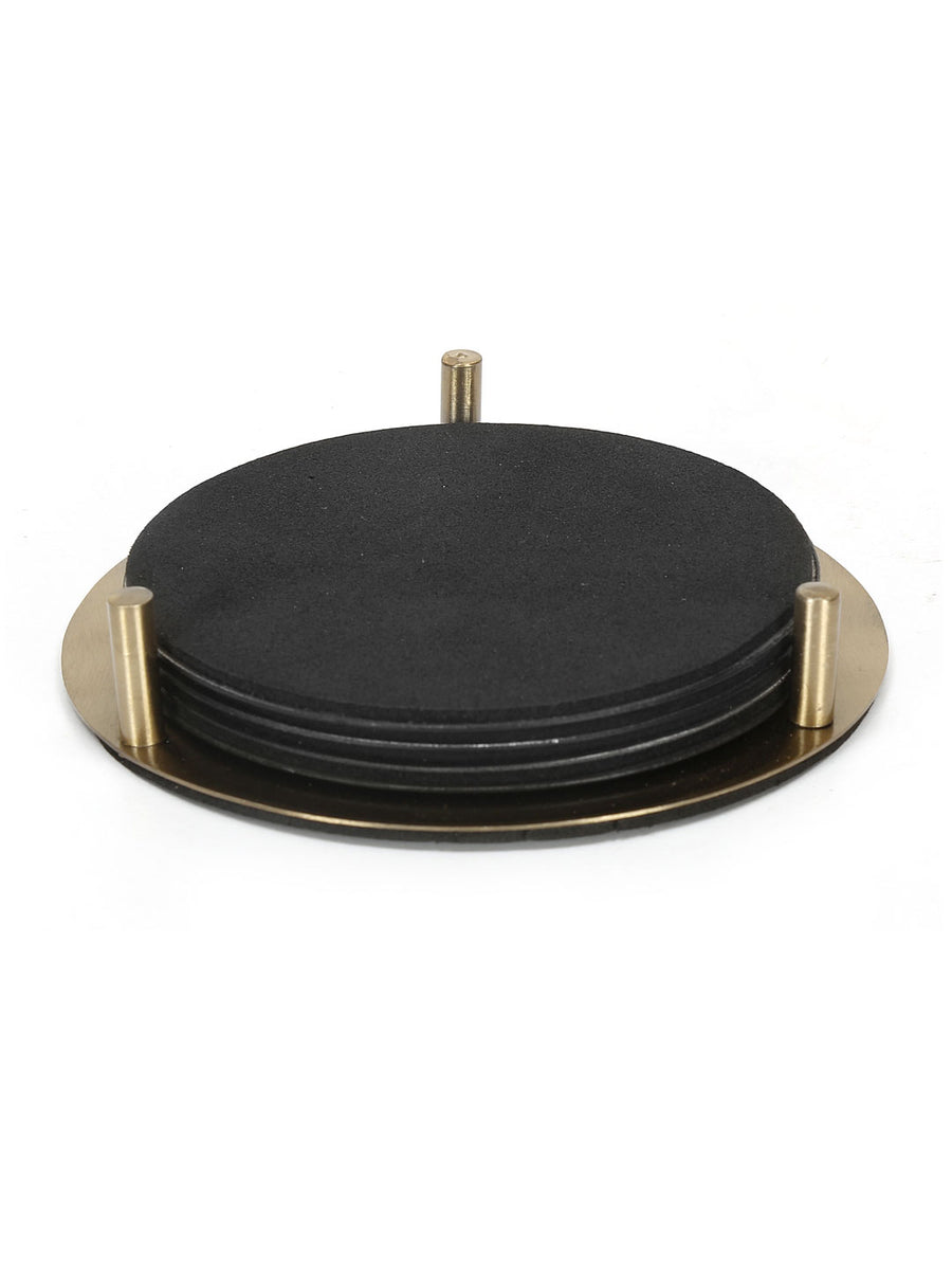 Round Coasters with Stand 4 Pieces (Black)