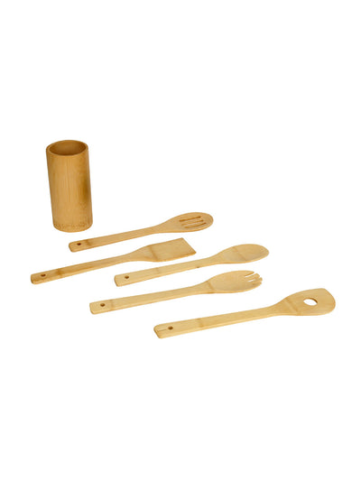 Kitchen Tool Set Of 5 Piece With Bamboo Stand (Wooden)