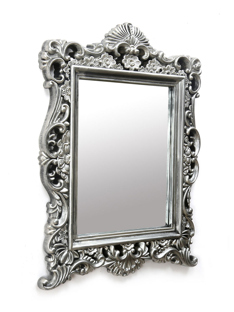 Mughal Rectangle Plastic Mirror (Silver)