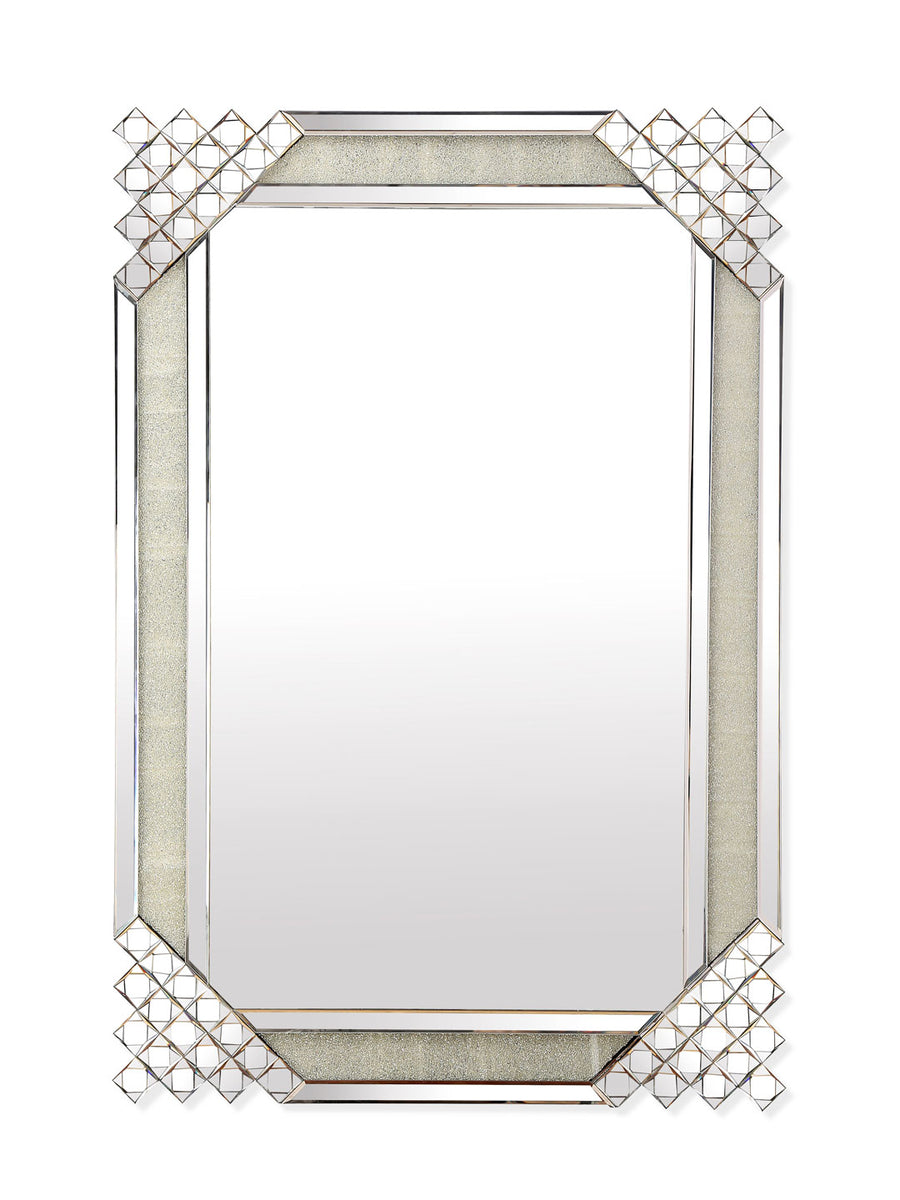Crystal Border Rectangle Mirror (Silver)
