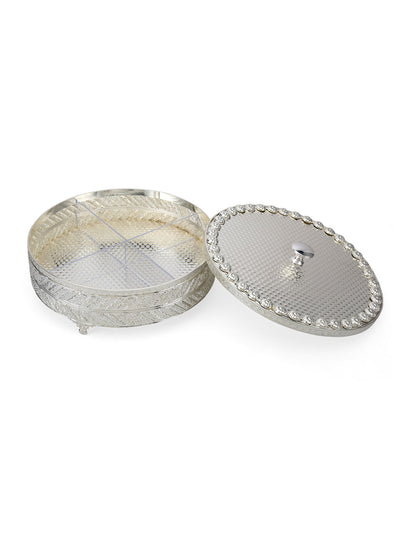 Silvia 1500 ml Round Serving Box (Silver)