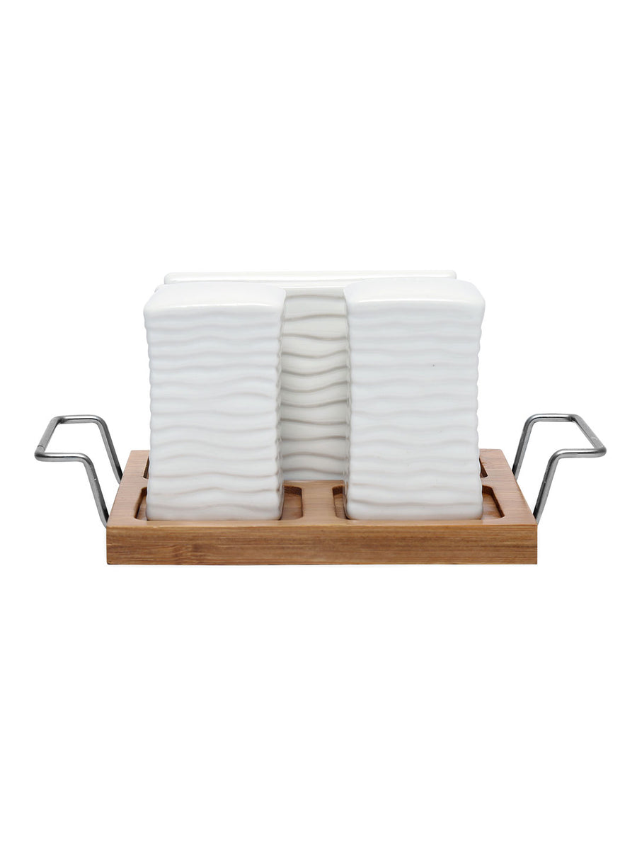Salt & Pepper With Toothpick Holder (Wooden)