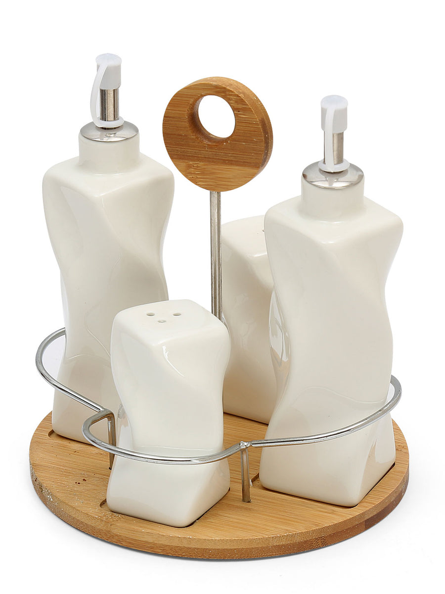 Cruet 5 Pieces with Tray (White)