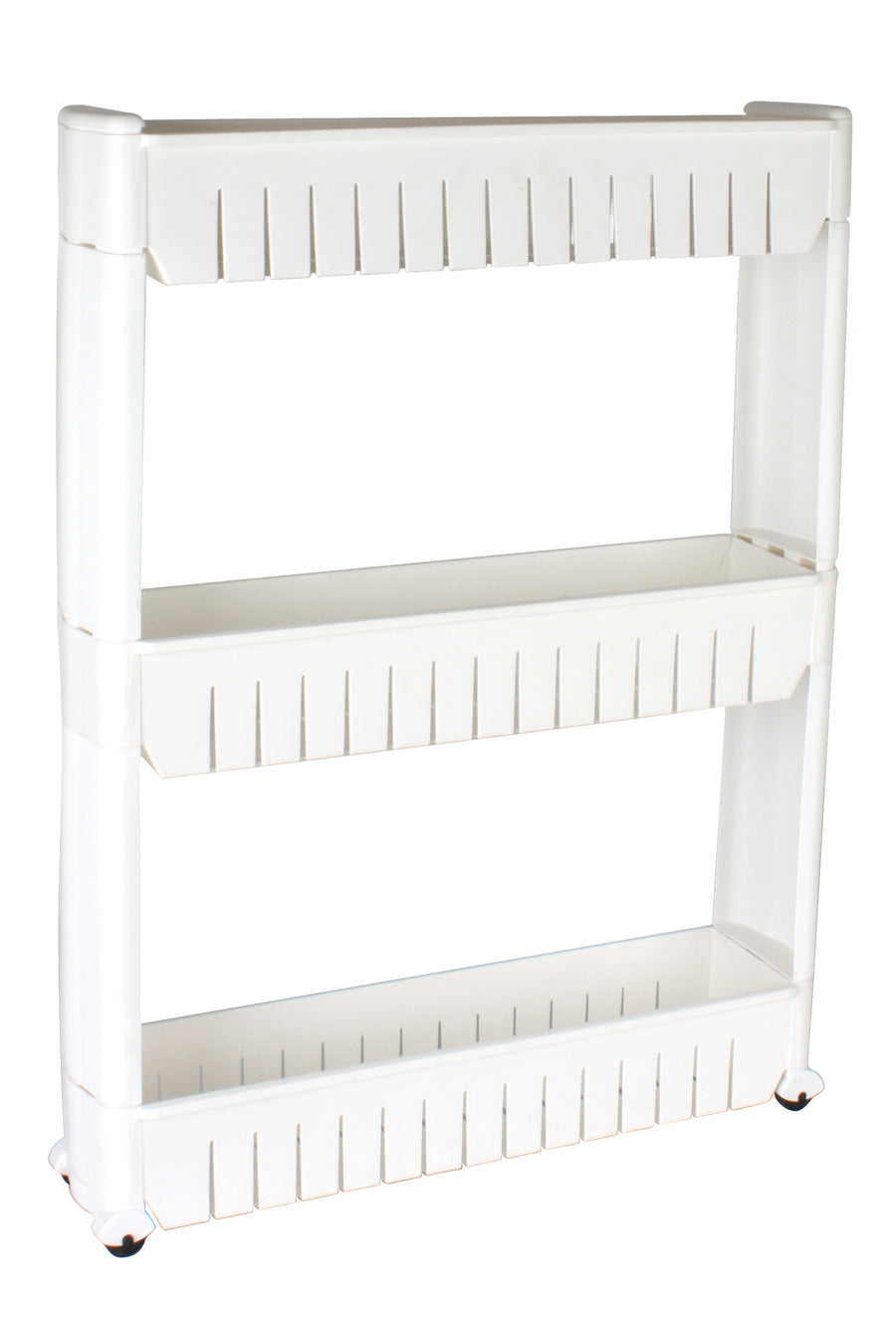 3 Layers with Wheels Storage Rack (White)