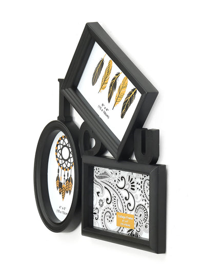 I Love You 3 Pictures Photo Frame (Black)