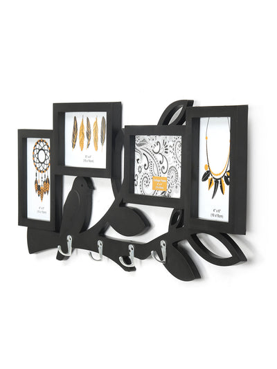4 Pictures Birds With Hooks Photo Frame (Black)