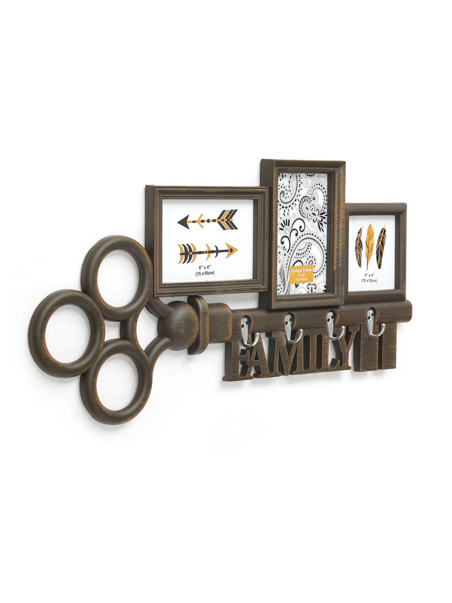 3 Pic Family Key Wth Hook Collage (Brown)