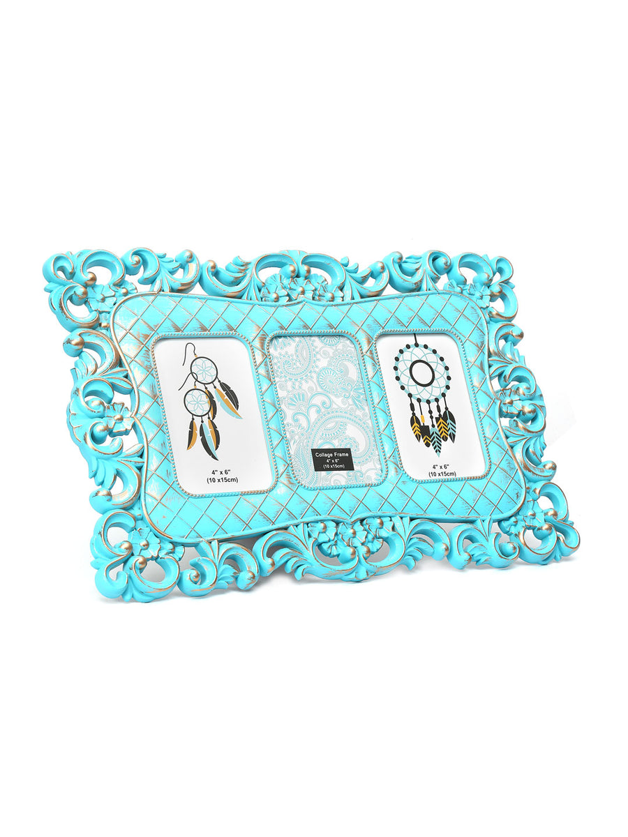 3 Pics Scroll Collage Photo Frame (Green)