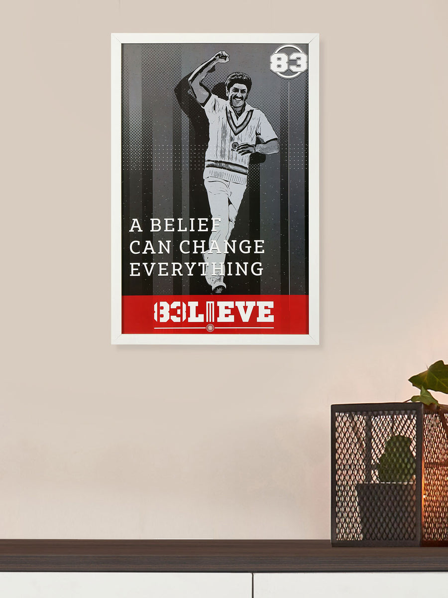 """83"" Hero Believe Printed 40 cm x 60 cm Painting (White)"