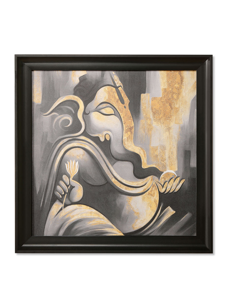 Meditating Ganesha Painting (Black & Gold)