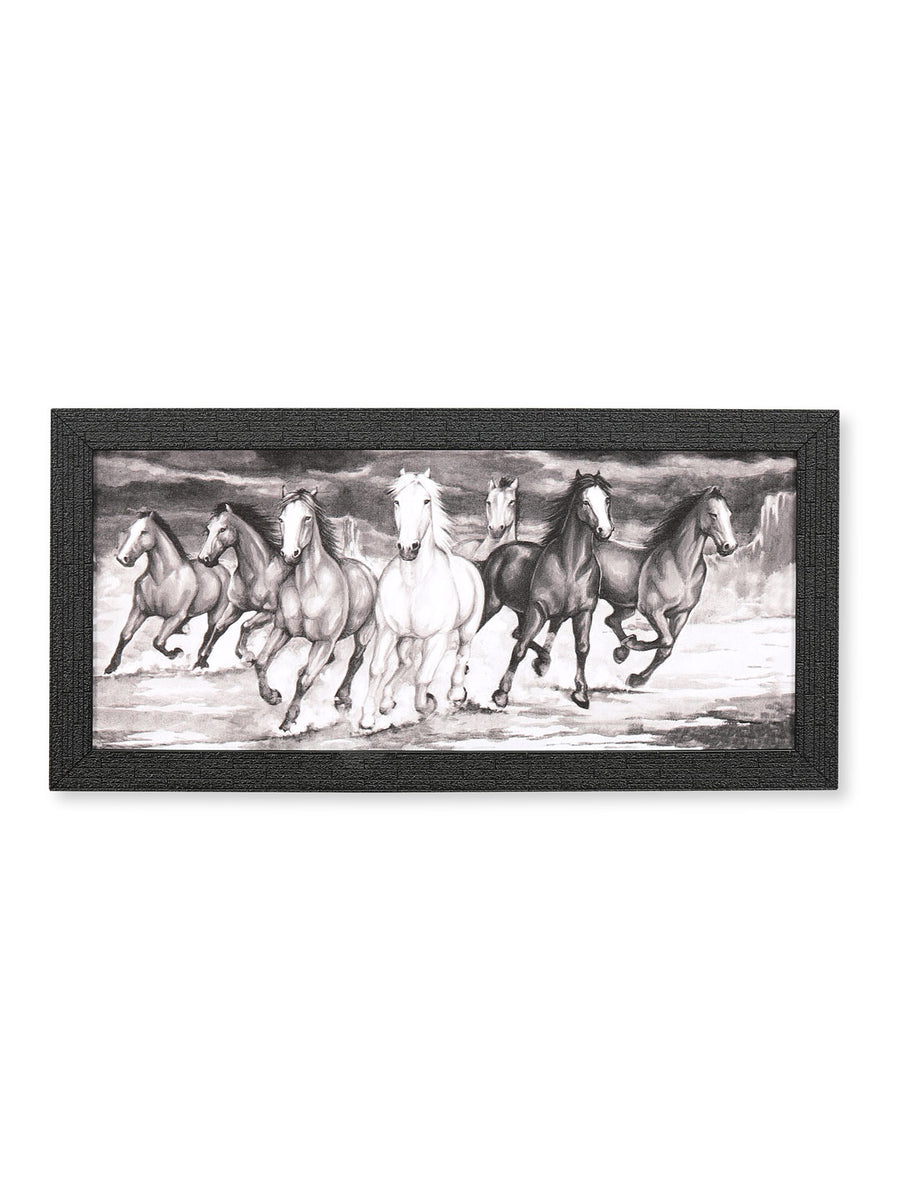 Seven Horses Painting (Black & White)