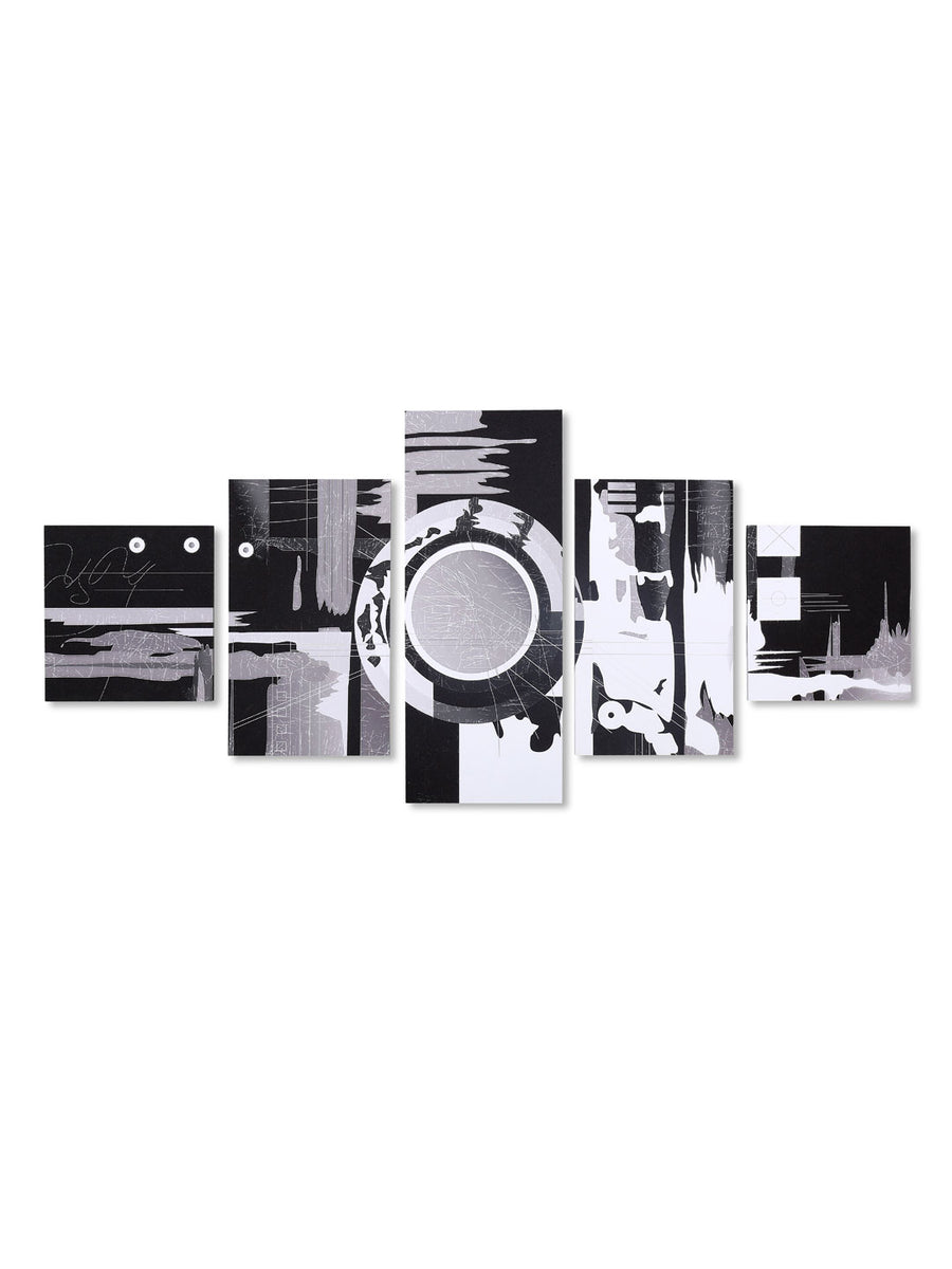 Abstract Art Painting With 5 Panel (Black & White)