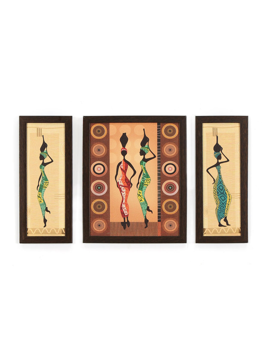 Tribal Ladies Painting Set of 3 (Brown)