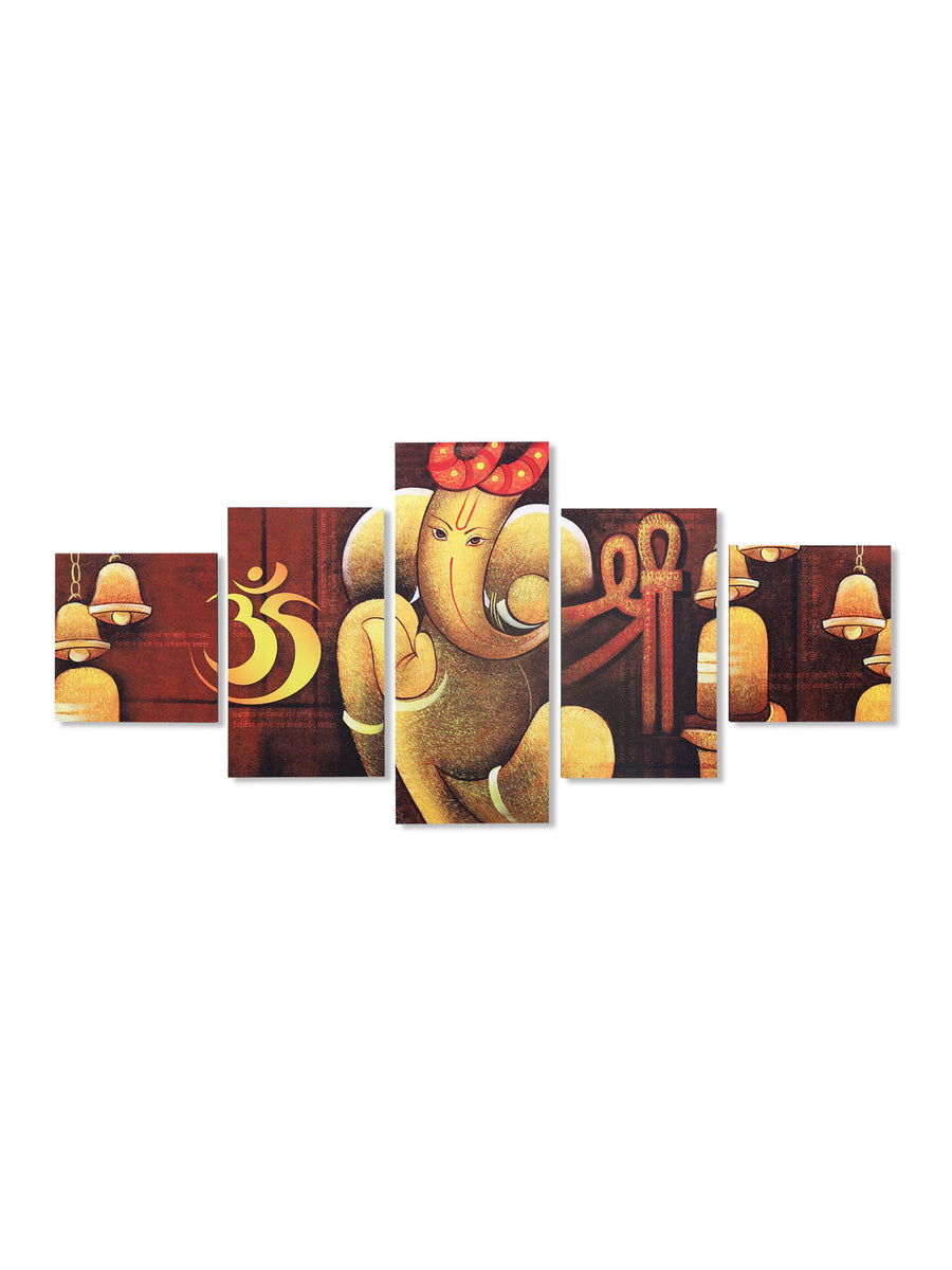 Om Ganesha Round Painting With 5 Panel (Brown)