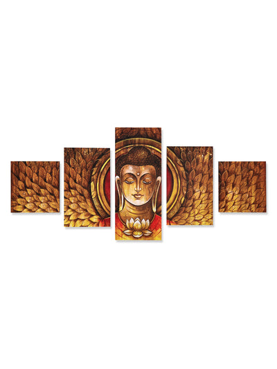 Buddha Mukh Round Painting With 5 Panel (Brown)
