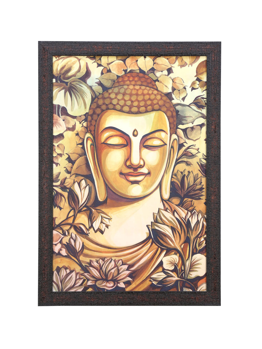 Buddha Mukh Floral Round Painting (Brown)