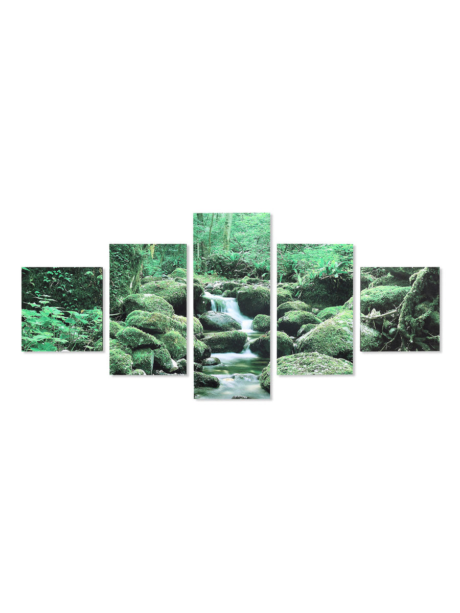 Waterfall At Forest Painting With 5 Panel (Emerald)
