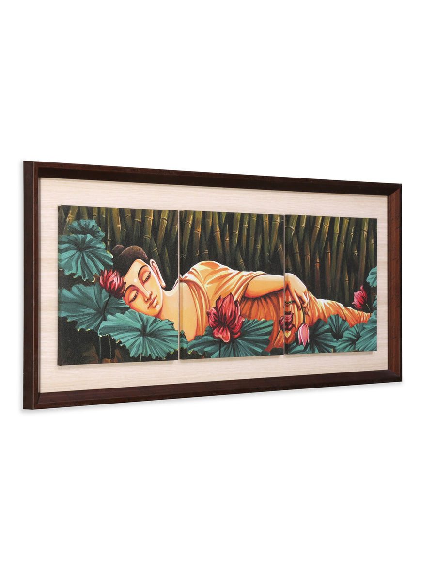 Sleeping Buddha Partition Painting (Emerald)