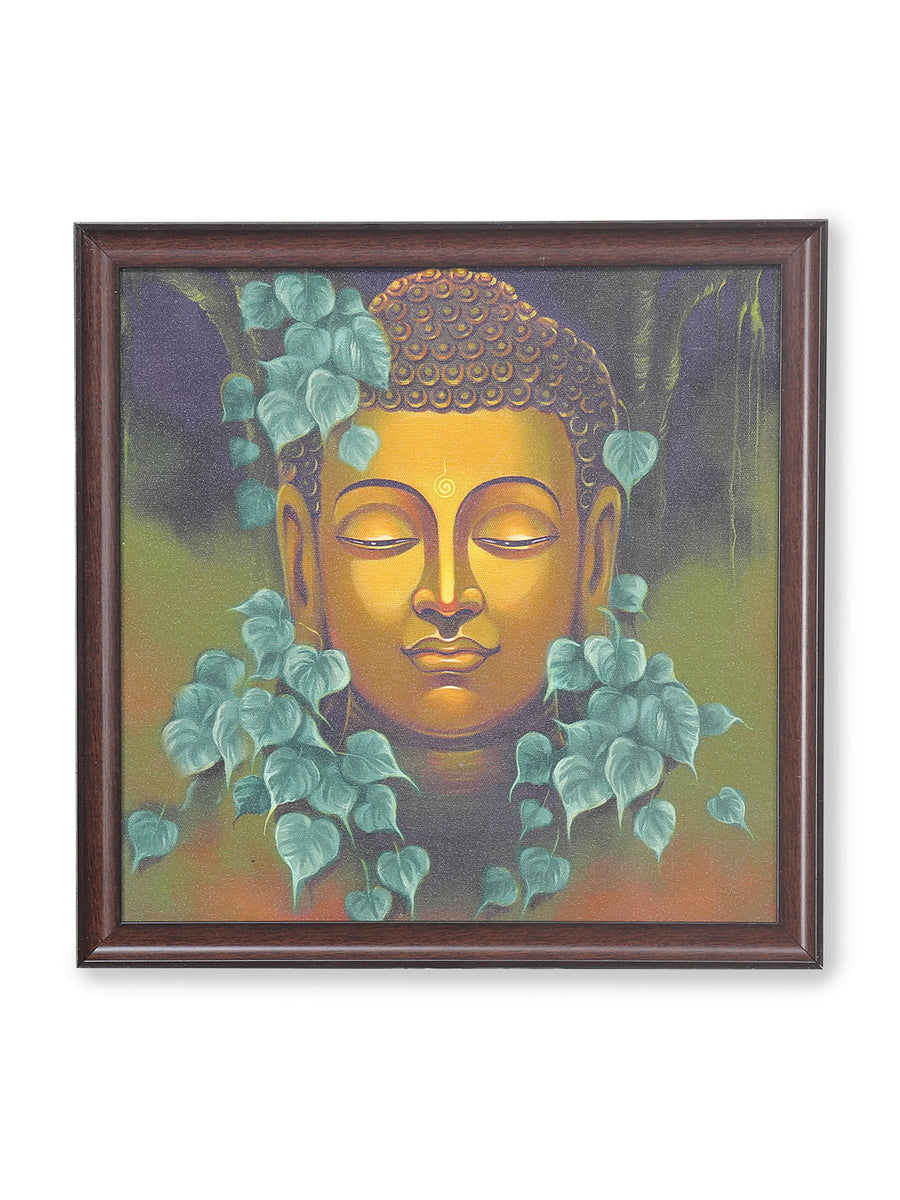 Buddha Mukh With Leaf Painting (Emerald)