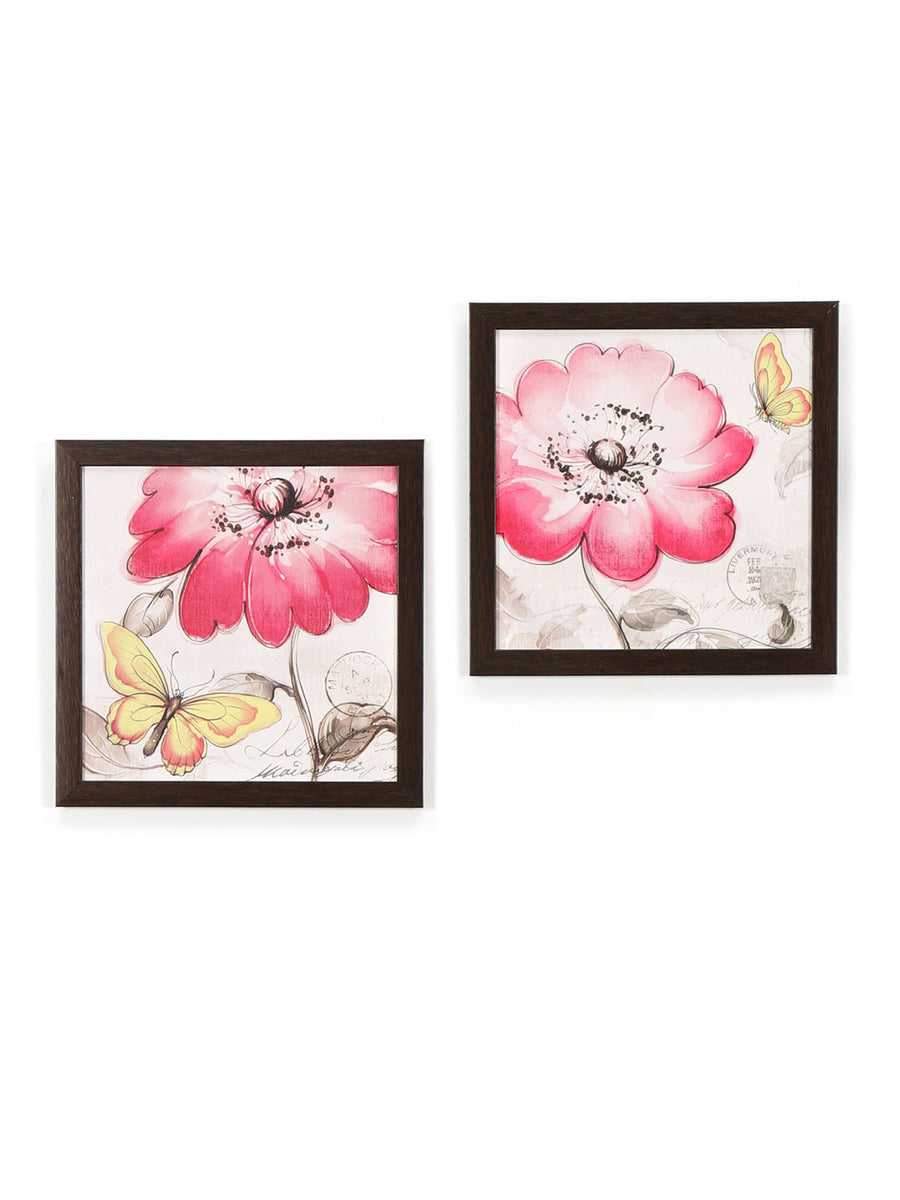 Floral Delight Painting Set of 2 (Fushcia & Yellow)