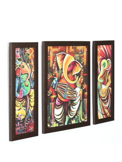 Musical Ganesha Painting Set of 3 (Fushcia)