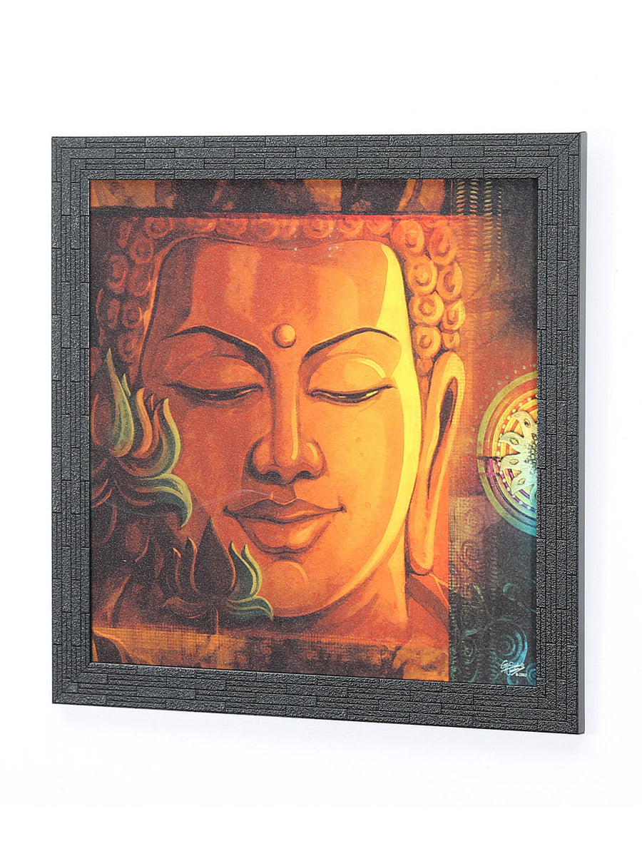 Buddha Face & Lotus Painting (Gold)