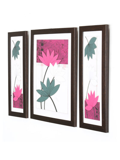 Water Lilies Painting Set of 3 (Lavender)