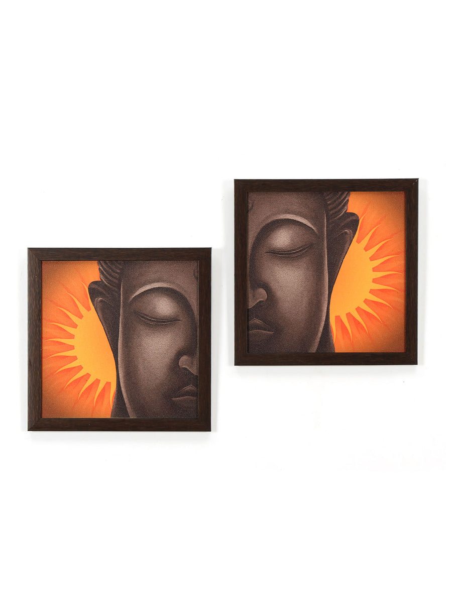 Buddha Face Painting Set of 2 (Mustard)