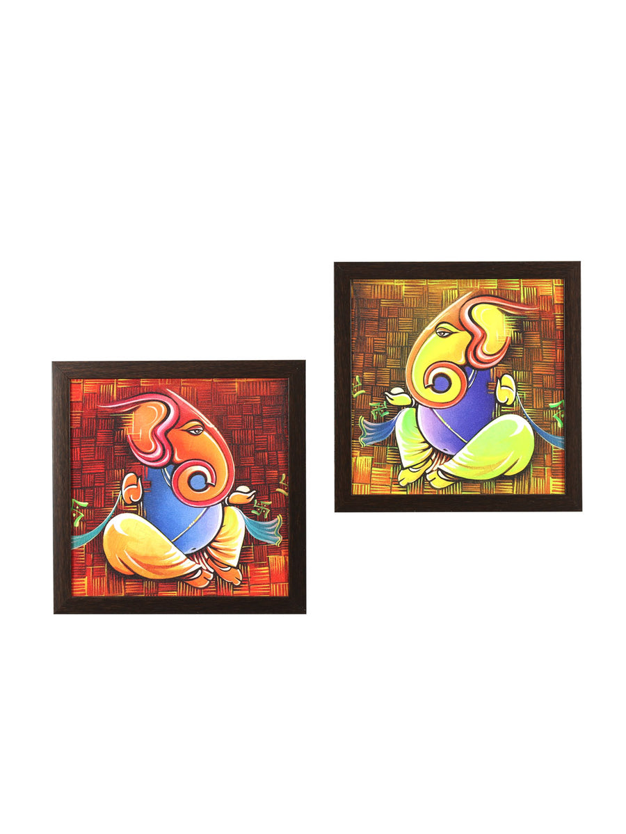 Ganesha Painting Set of 2 (Mustard)