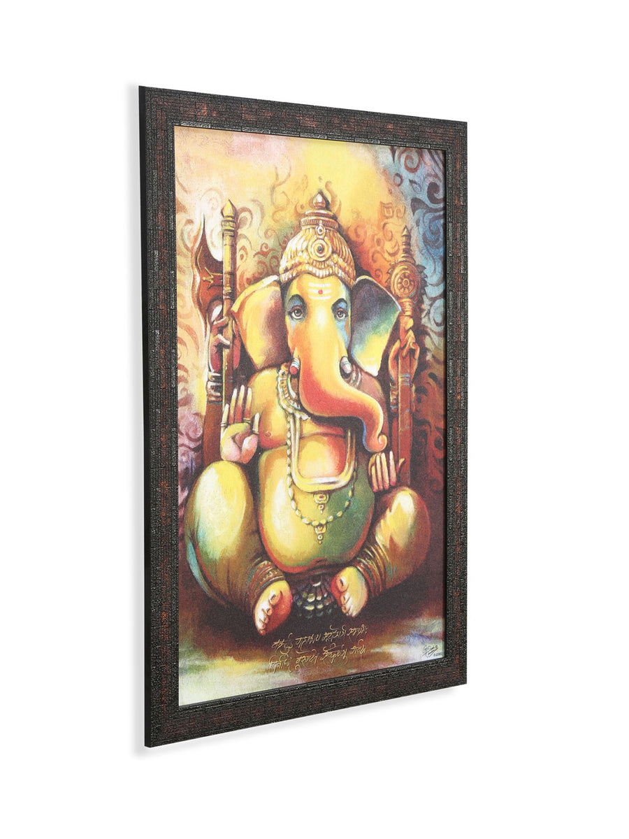 Ganesha With Axe Painting (Mustard)