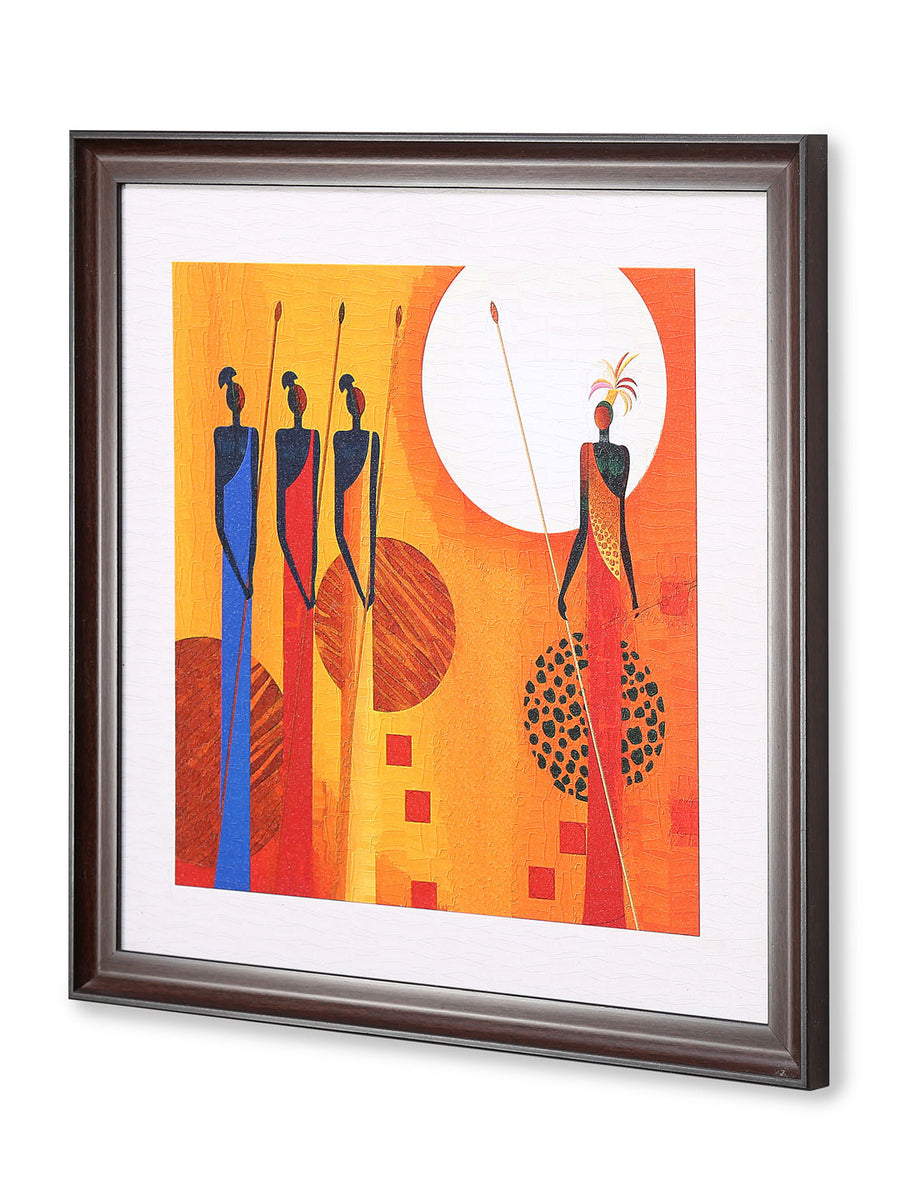 African Tribe Painting (Mustard)