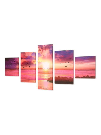 Abstract Sky 5 Panel Paintings (Peach)