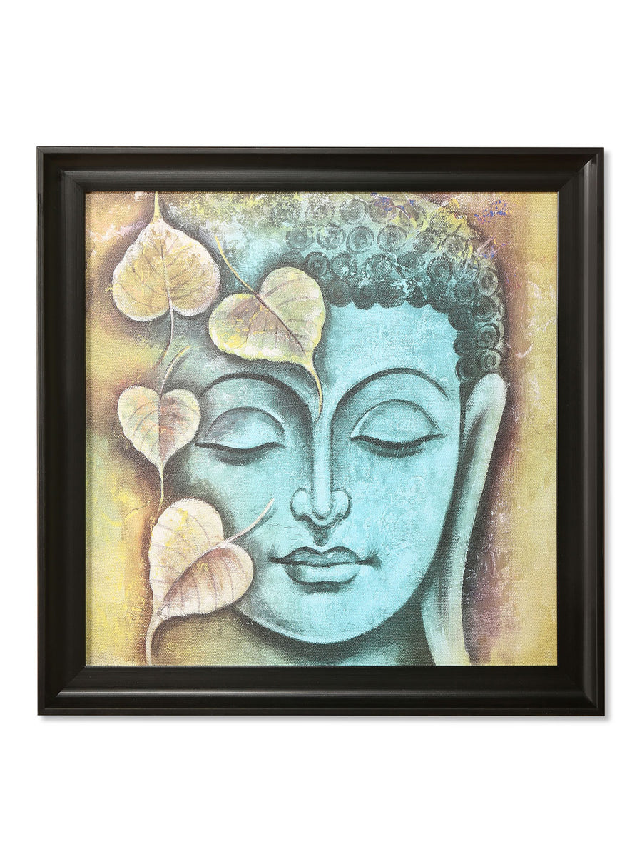 Budhha Leaf Painting (Sea Green)