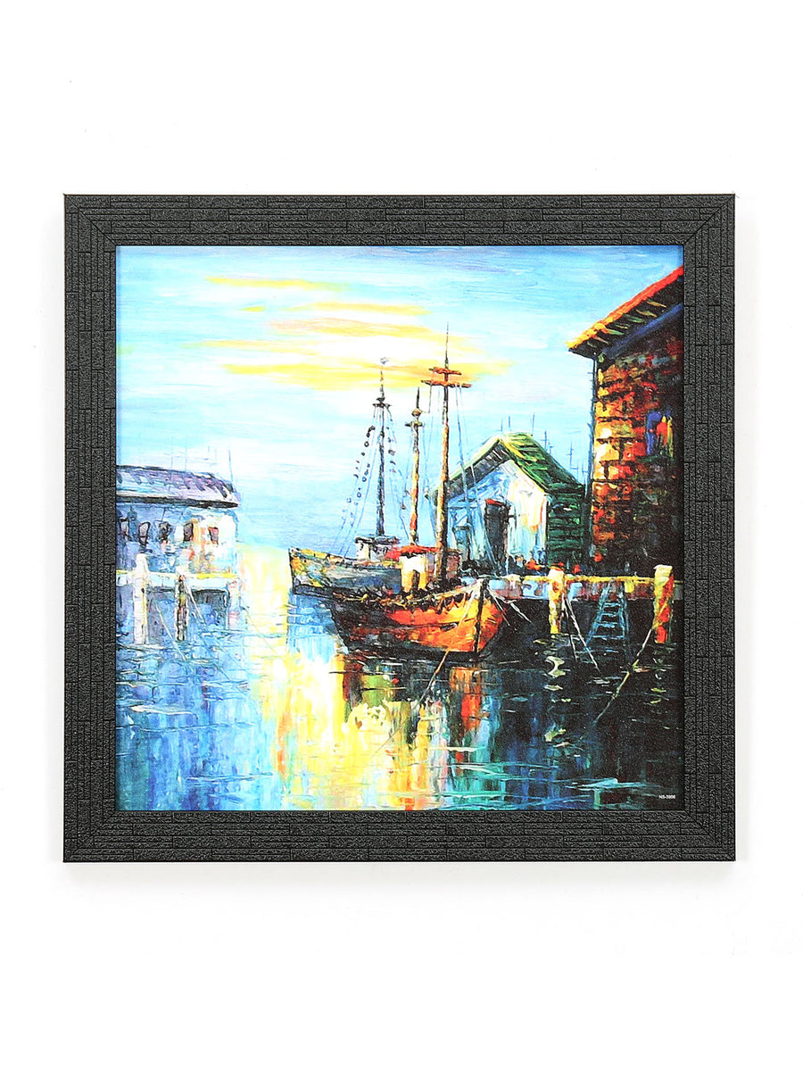 Ship on Shore Painting (Sea Green)