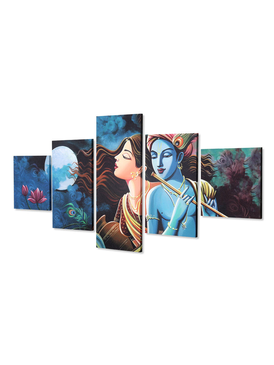 Radha Krishna Five Panel Painting (Sea Green)