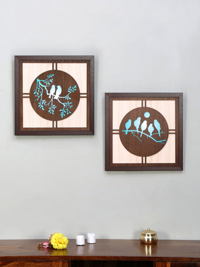 Birds On Branch Painting Set Of 2 (Sea Green)