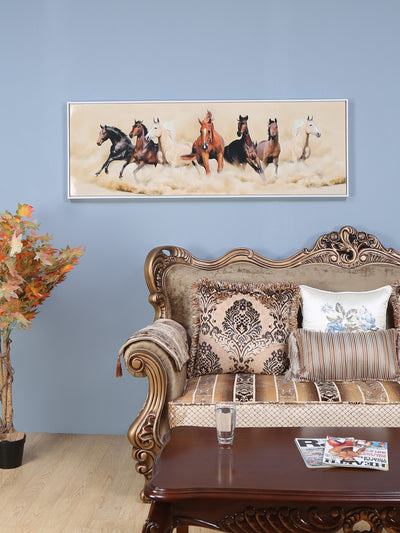 Seven Horses Viva Painting (Brown)