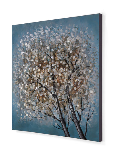 Floral Tree Emboss Painting (Sea Green)