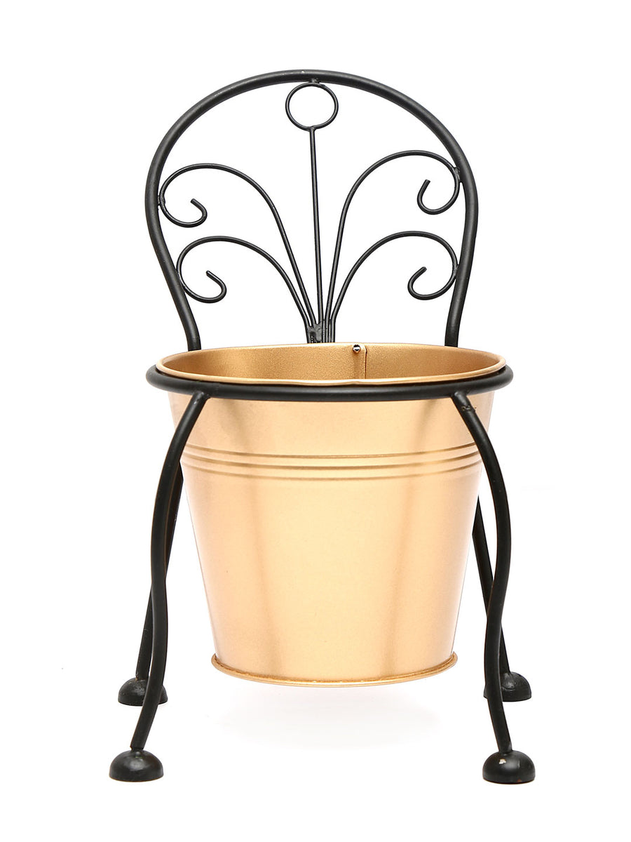 Mini Chair Planter (Black & Gold)