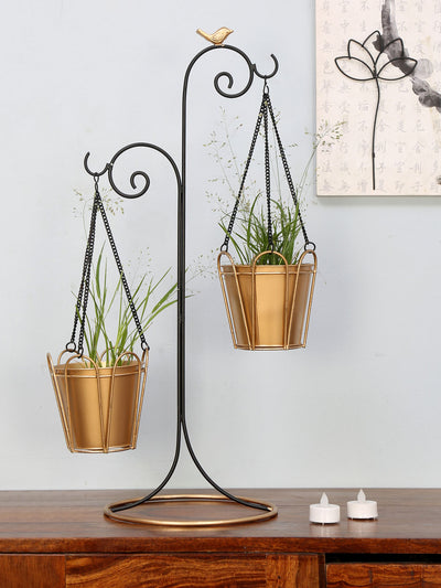 2 Pots Hanging Planter (Black & Gold)