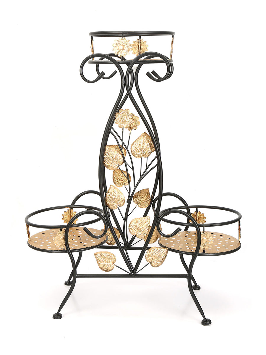 Trio Leafy Holder Planter (Gold)